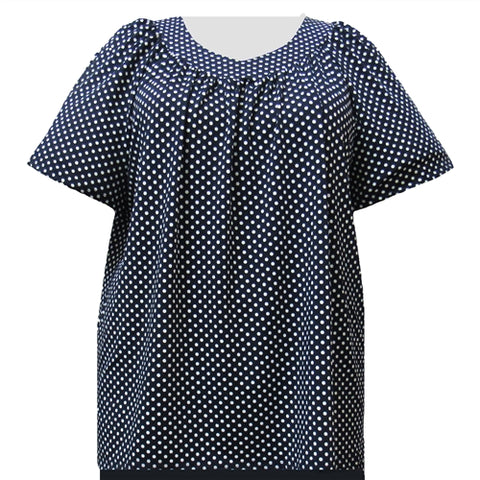 Navy Aspirin Dots V-Neck Pullover Women's Plus Size Top