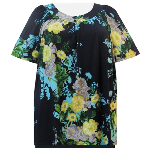 Navy Floral V-Neck Pullover Women's Plus Size Top