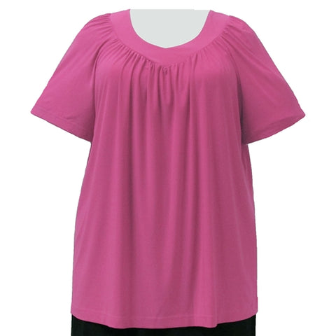 Pink V-Neck Pullover Top Women's Plus Size Pullover Top