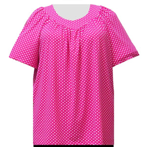Pink Aspirin Dots V-Neck Pullover Women's Plus Size Top