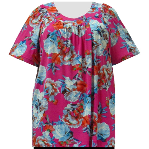 Pink Bouquet V-Neck Pullover Women's Plus Size Top