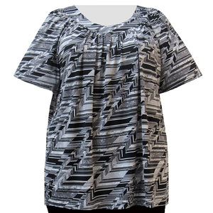 Platinum Geometric V-Neck Pullover Women's Plus Size Top