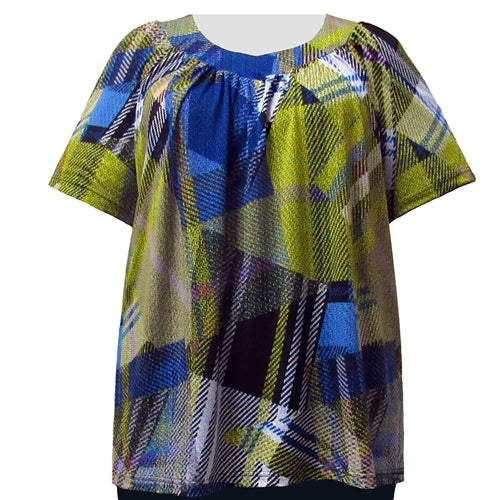 Royal Chartreuse Geometric V-Neck Pullover Women's Plus Size Top