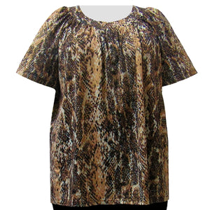 Reptile Foil V-Neck Pullover Women's Plus Size Top
