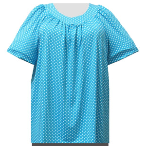 Turquoise Aspirin Dots V-Neck Pullover Women's Plus Size Top