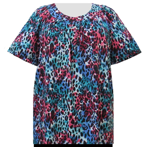 Watercolor Animal V-Neck Pullover Women's Plus Size Top