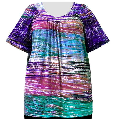 Watercolor Mix Pullover Women's Plus Size Top