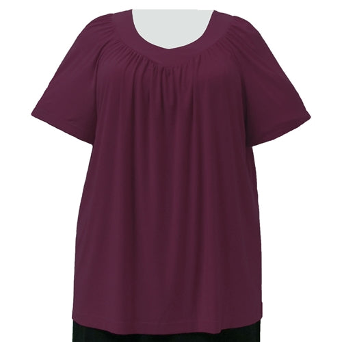 Wine V-Neck Pullover Top Women's Plus Size Pullover Top