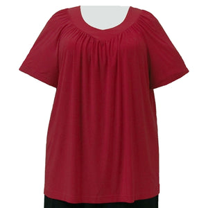 Red V-Neck Pullover Top Women's Plus Size Pullover Top