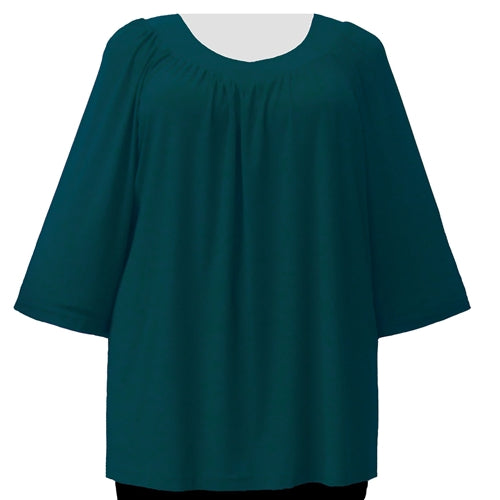 Alpine Green 3/4 Sleeve V-Neck Pullover Top Women's Plus Size Pullover Top