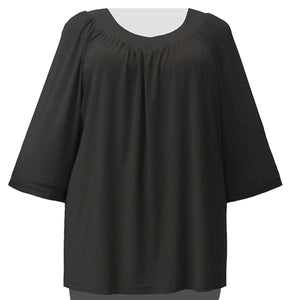 Black 3/4 Sleeve V-Neck Pullover Top Women's Plus Size Pullover Top