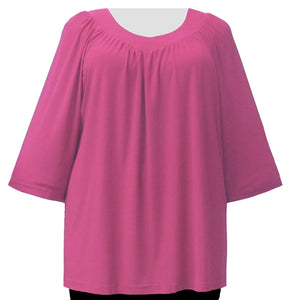 Pink 3/4 Sleeve V-Neck Pullover Top Women's Plus Size Pullover Top