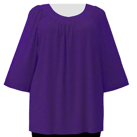 Purple 3/4 Sleeve V-Neck Pullover Top Women's Plus Size Pullover Top
