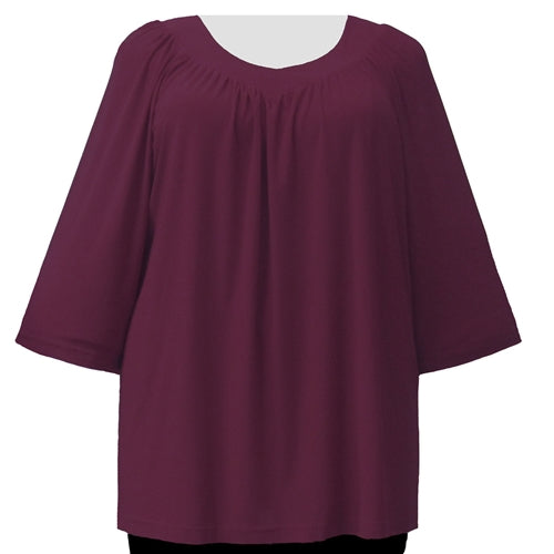 Wine 3/4 Sleeve V-Neck Pullover Top Women's Plus Size Pullover Top
