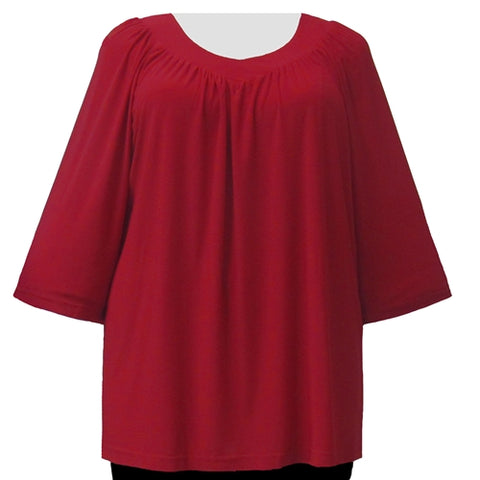 Red 3/4 Sleeve V-Neck Pullover Top Women's Plus Size Pullover Top