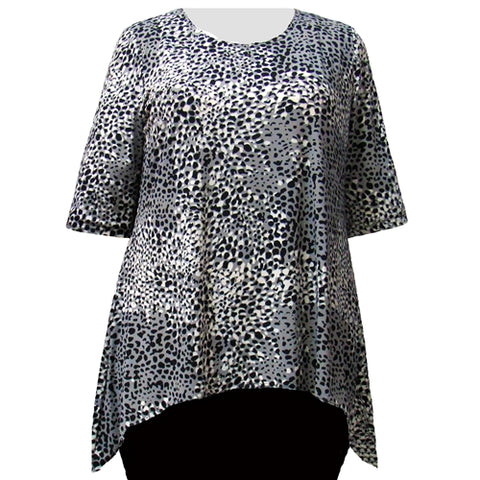 Black Ocicat 3/4 Sleeve Round Neck Sharkbite Hem Pullover Top Women's Plus Size Top