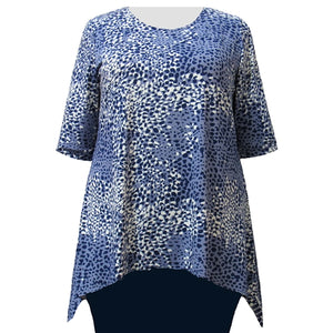 Blue Ocicat 3/4 Sleeve Round Neck Sharkbite Hem Pullover Top Women's Plus Size Top