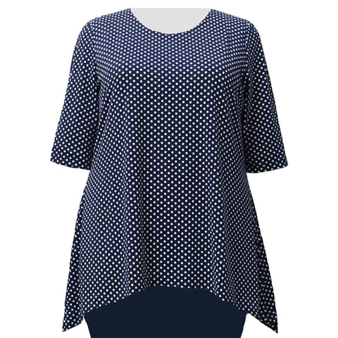 Navy Aspirin Dots 3/4 Sleeve Round Neck Sharkbite Hem Pullover Top Women's Plus Size Top