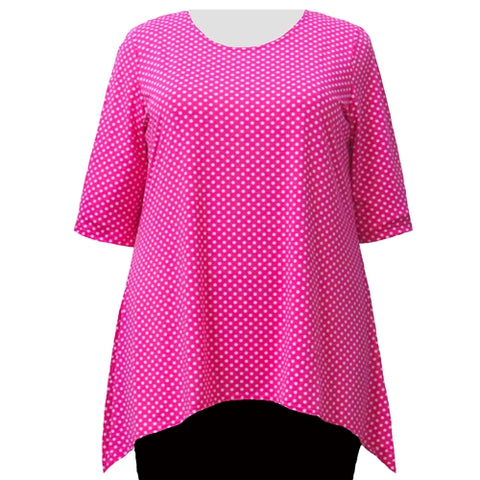 Pink Aspirin Dots 3/4 Sleeve Round Neck Sharkbite Hem Pullover Top Women's Plus Size Top