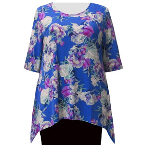 Periwinkle Bouquet 3/4 Sleeve Round Neck Sharkbite Hem Pullover Top Women's Plus Size Top