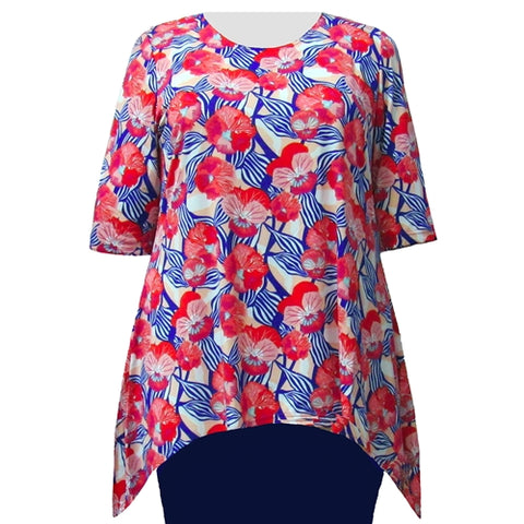 Strawberry Fields 3/4 Sleeve Round Neck Sharkbite Hem Pullover Top Women's Plus Size Top