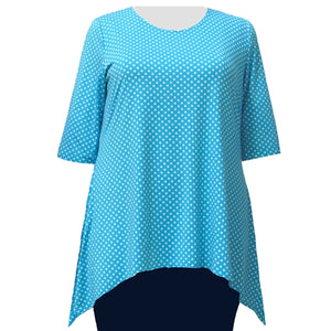 Turquoise Aspirin Dots 3/4 Sleeve Round Neck Sharkbite Hem Pullover Top Women's Plus Size Top