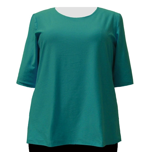 Jade Cotton Knit 3/4 Sleeve Round Neck Pullover Top Women's Plus Size Top