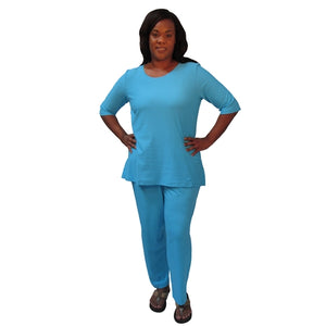 Turquoise Cotton Knit 3/4 Sleeve Round Neck Pullover Top Women's Plus Size Top