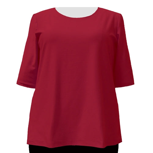 Red Cotton Knit 3/4 Sleeve Round Neck Pullover Top Women's Plus Size Top
