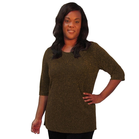 Copper Sparkle 3/4 Sleeve Women's Plus Size Top