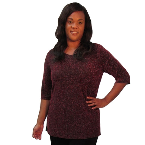 Ruby Sparkle 3/4 Sleeve Women's Plus Size Top