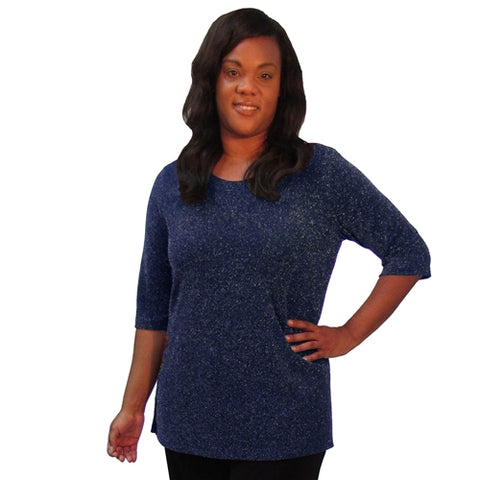 Sapphire Sparkle 3/4 Sleeve Women's Plus Size Top