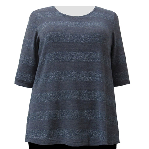 Charcoal Metallic Stripe Knit Sweater Women's Plus Size Knit Sweater