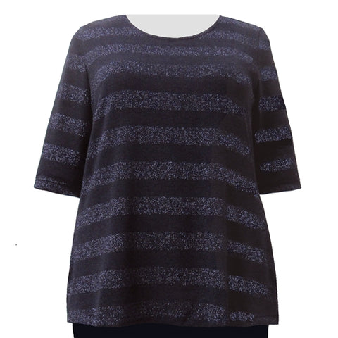 Sapphire Metallic Stripe Knit Sweater Women's Plus Size Knit Sweater