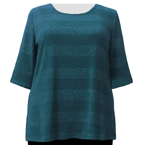 Teal Metallic Stripe Knit Sweater Women's Plus Size Knit Sweater
