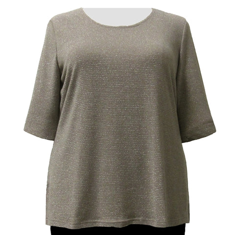 Taupe Metallic Pinstripe Knit Sweater Women's Plus Size Knit Sweater