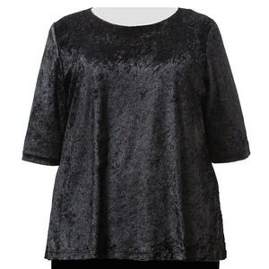 Black Crushed Panne 3/4 Sleeve Round Neck Pullover Top Women's Plus Size Top