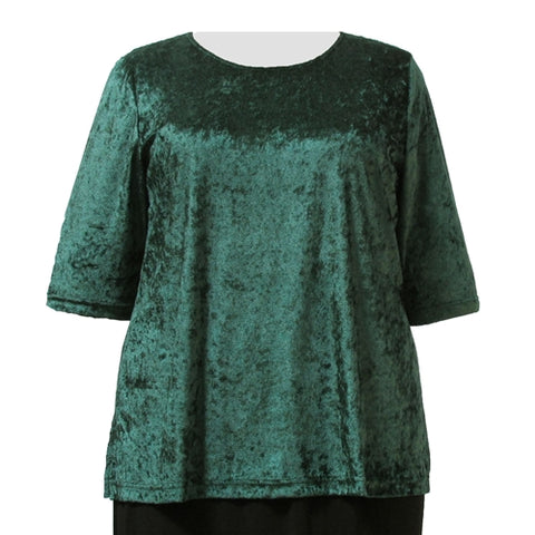 Forest Green Crushed Panne 3/4 Sleeve Round Neck Pullover Top Women's Plus Size Top