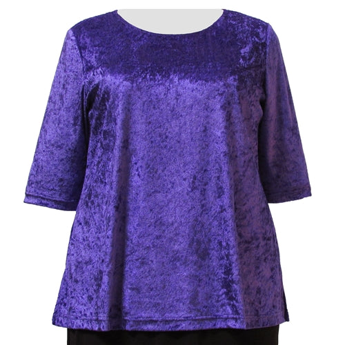 Purple Crushed Panne 3/4 Sleeve Round Neck Pullover Top Women's Plus Size Top