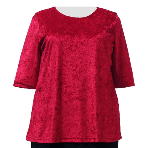 Red Crushed Panne 3/4 Sleeve Round Neck Pullover Top Women's Plus Size Top