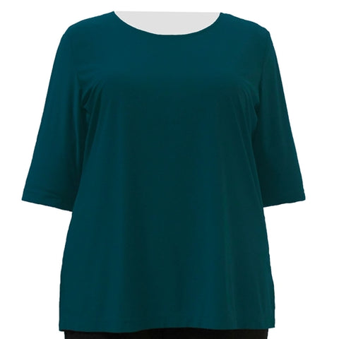 Alpine Green 3/4 Sleeve Round Neck Pullover Top Women's Plus Size Top