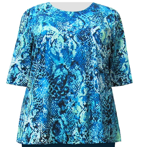Aqua Reptile 3/4 Sleeve Round Neck Pullover Top Women's Plus Size Top