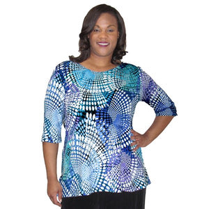 Blue Kaleidoscope 3/4 Sleeve Round Neck Pullover Top Women's Plus Size Top