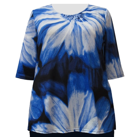 Blue Photo Floral 3/4 Sleeve Round Neck Pullover Top Women's Plus Size Top