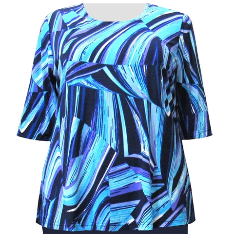 Blue Swirls 3/4 Sleeve Round Neck Pullover Top Women's Plus Size Top