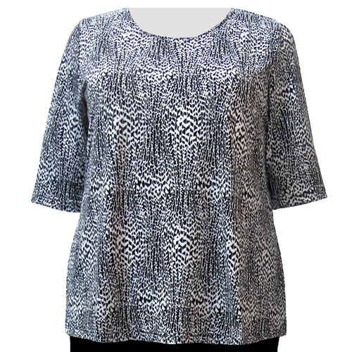 Black & White Trellis Vine 3/4 Sleeve Round Neck Pullover Top Women's Plus Size Top