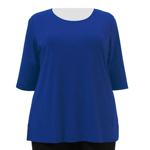 Cobalt 3/4 Sleeve Round Neck Pullover Top Women's Plus Size Top