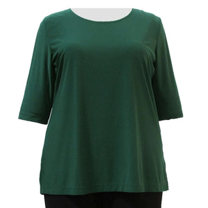 Forest Green 3/4 Sleeve Round Neck Pullover Top Women's Plus Size Top