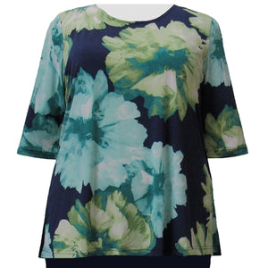 Green Blossom 3/4 Sleeve Round Neck Pullover Top Women's Plus Size Top