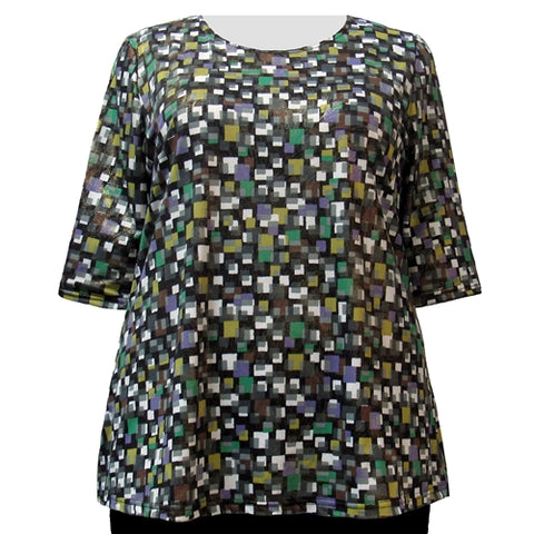 Green Tetris with Gold Foil 3/4 Sleeve Round Neck Pullover Top Women's Plus Size Top